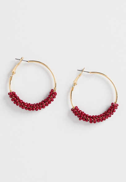 red bead hoop earring