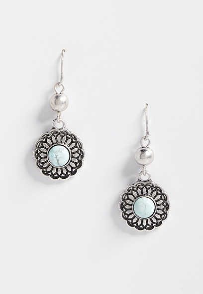 blue stone drop earring
