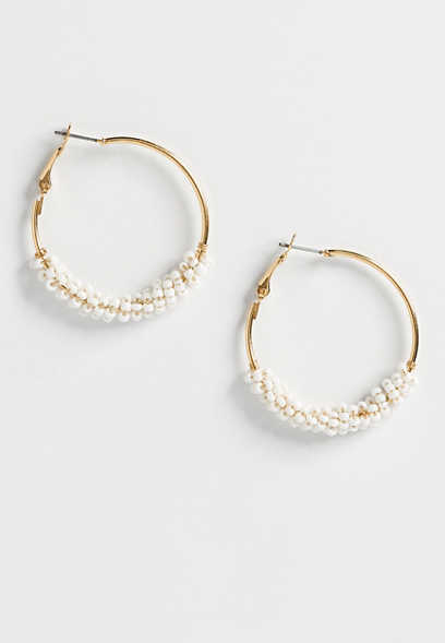 cream bead hoop earring