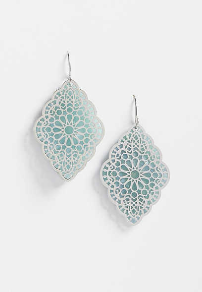 green silver overlay drop earrings
