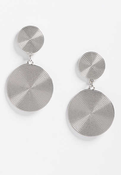 swirl double disc drop earring