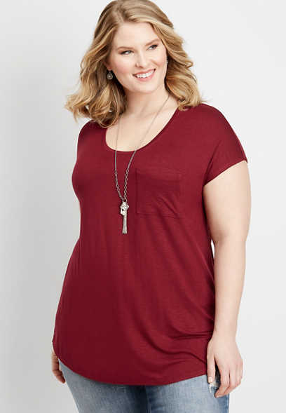 plus size 24/7 solid pocket dolman tee