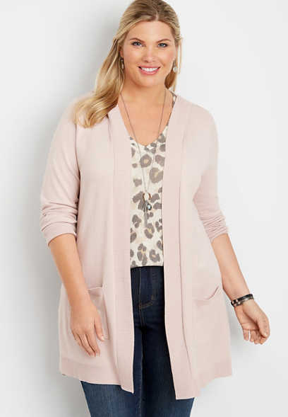 plus size hooded pointelle back cardigan