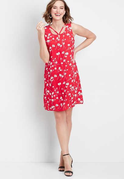 ec40e4b41de floral lattice neck dress