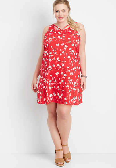 plus size floral lattice neck dress