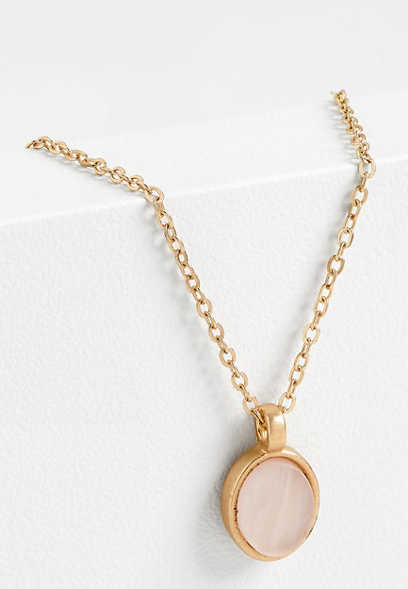 pink oval dainty necklace