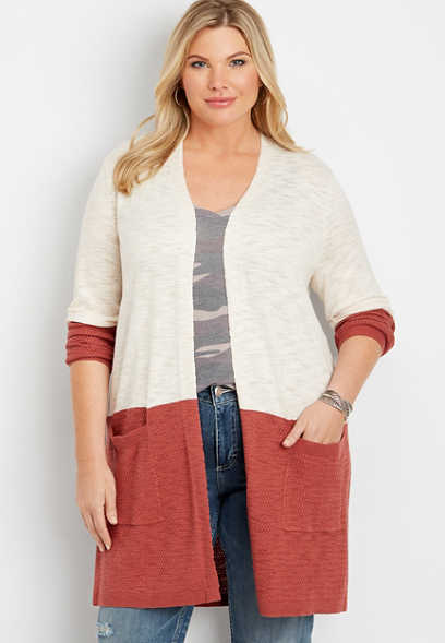 plus size long sleeve colorblock cardigan