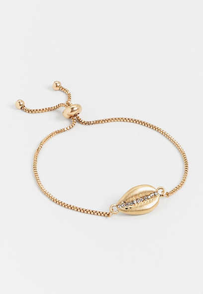 cowry shell pull knot bracelet