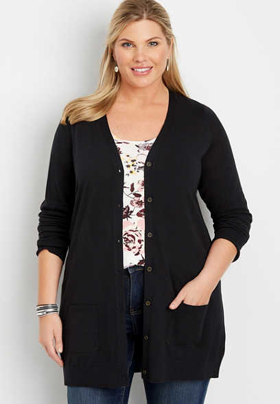 plus size solid button down boyfriend cardigan