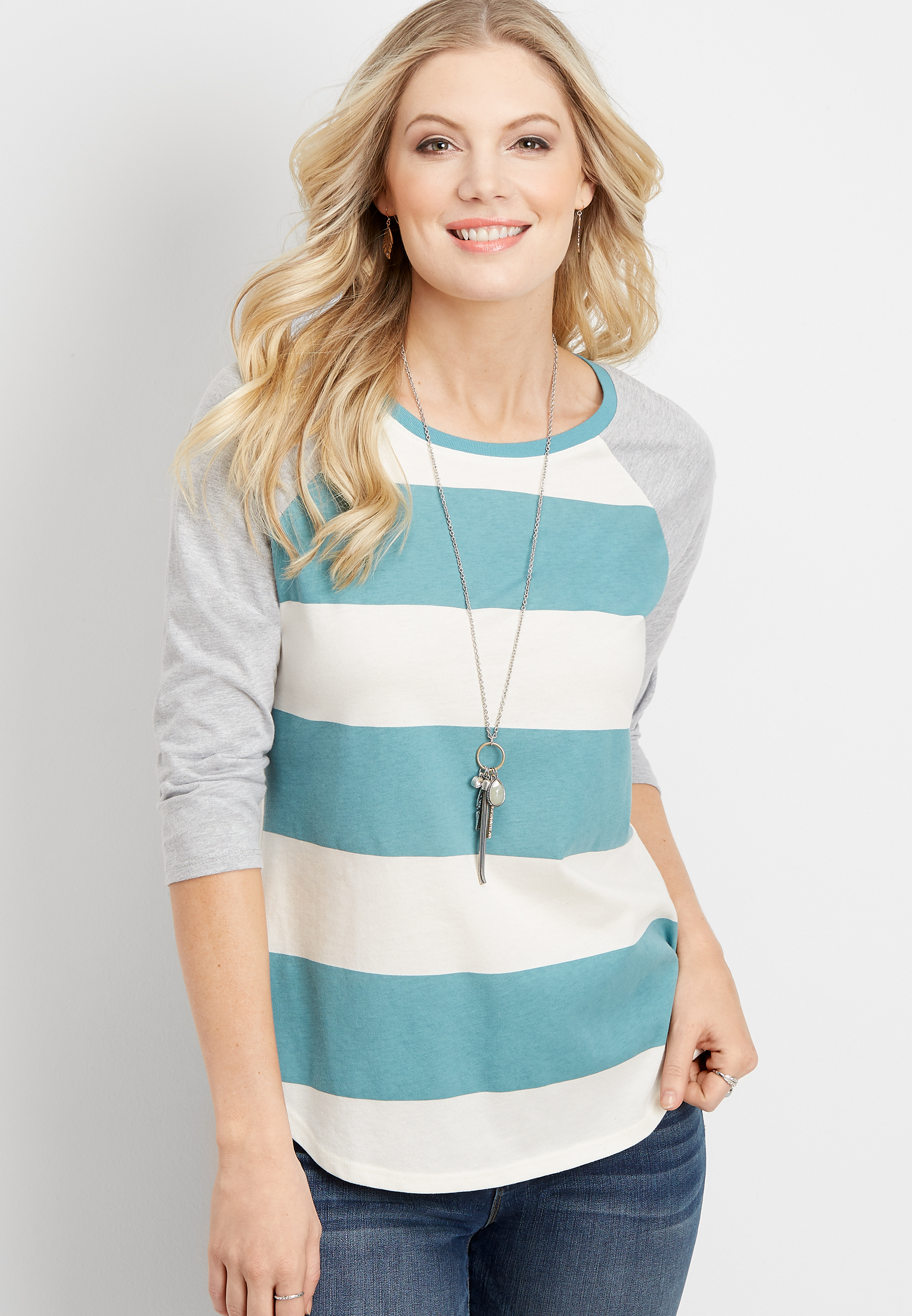 24/7 Rugby Stripe Baseball Tee by Maurices