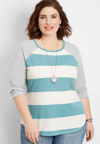 plus size 24/7 rugby stripe baseball tee