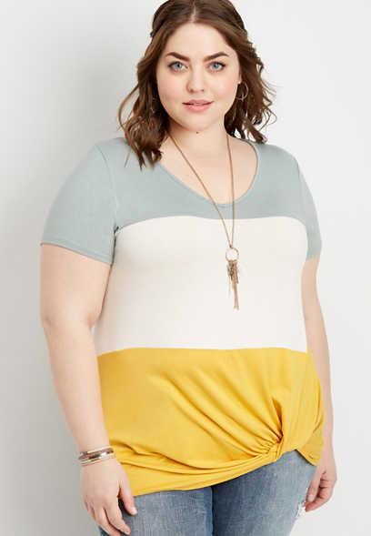 plus size 24/7 colorblock knot front tee