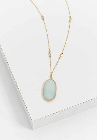 green framed stone pendant necklace