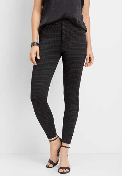 super high rise plaid ponte skinny ankle pant