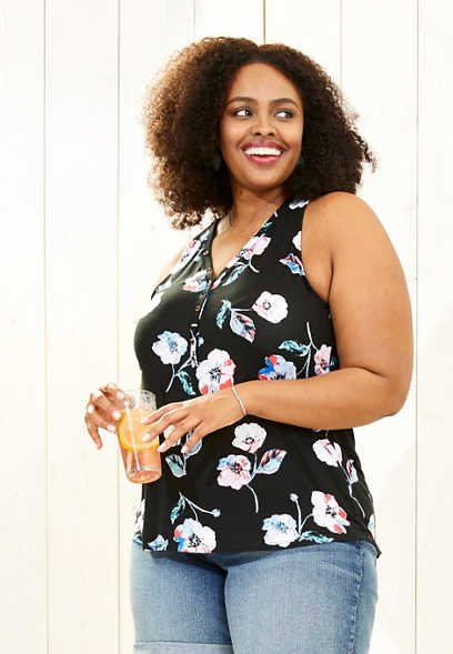 plus size 24/7 floral strappy back tank