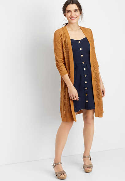 open stitch duster cardigan