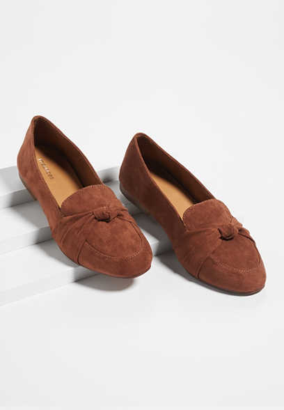 Bianca brown front knot flats