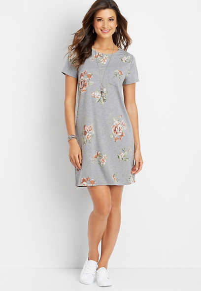 24/7 floral keyhole back dress