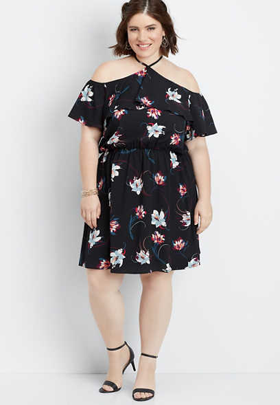 plus size floral cold shoulder dress