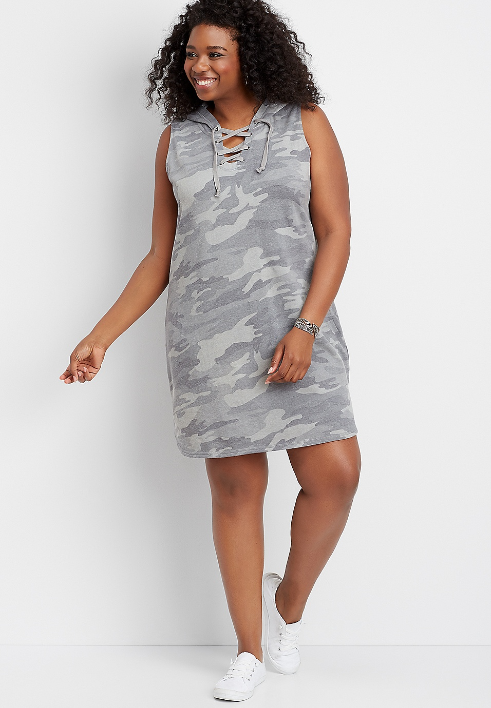 plus size camo hooded sweatshirt dress