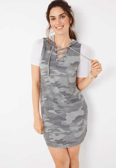 camo hooded sweatshirt dress