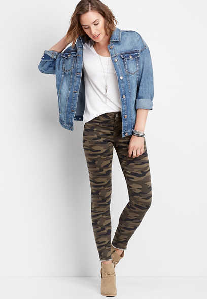 DenimFlex™ camo lace up jegging