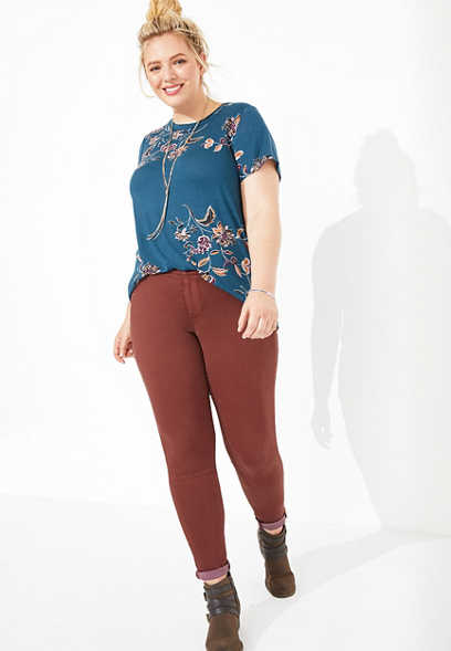 plus size DenimFlex™ rust color jegging