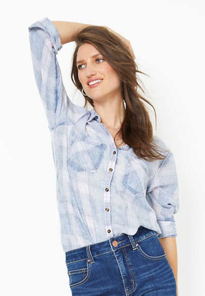 plaid burnwash button down shirt