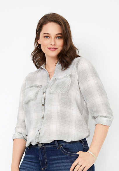 plus size plaid burnwash button down shirt