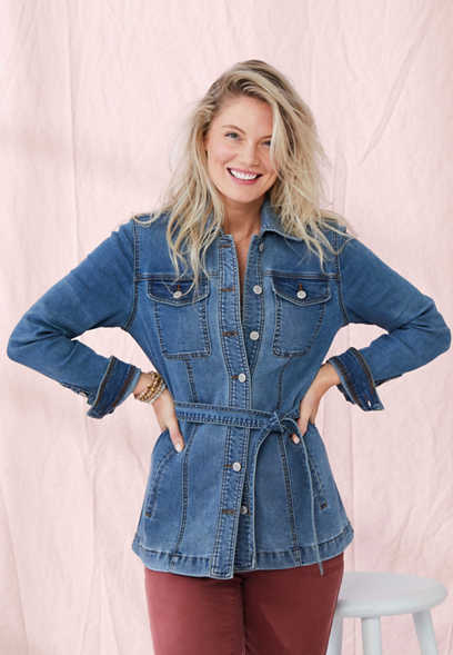 Medium Wash Belted Trench Denim Jacket