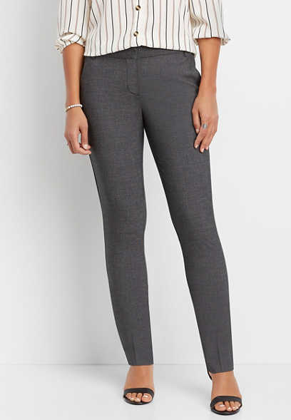 textured crosshatch straight leg pant