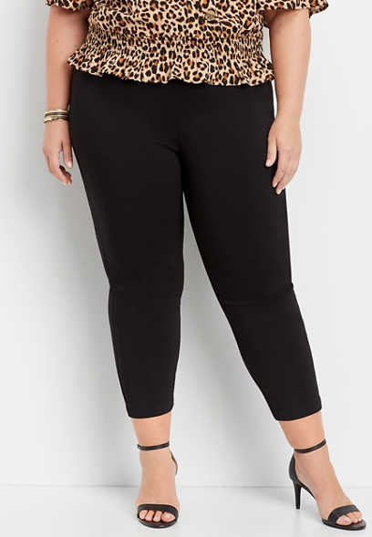 plus size elastic side high rise bengaline crop pant