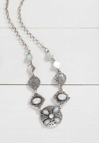Silver Jeans Co.® soft green flower necklace
