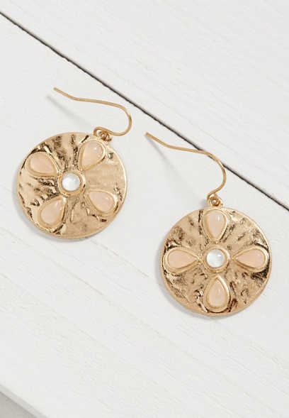 Silver Jeans Co.® soft pink flower disc earring