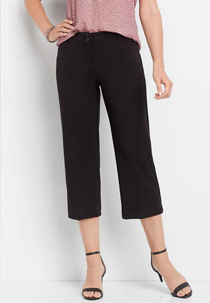 black cropped culotte pant