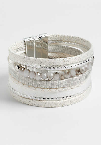 white multi row magnetic bracelet