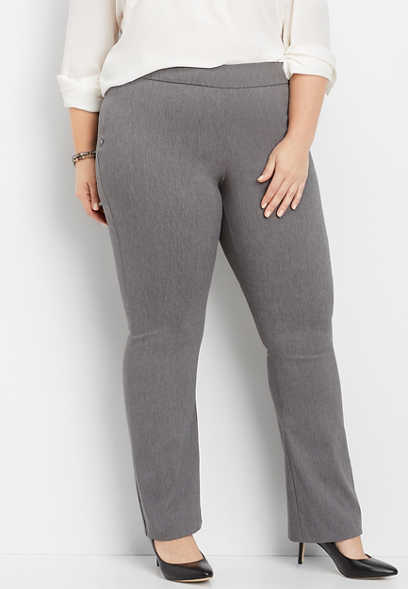 plus size pull on bengaline bootcut pant