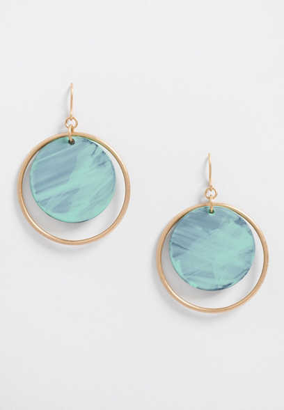 patina resin circle earring