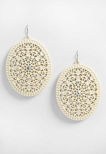 ivory oval scroll stone earrings