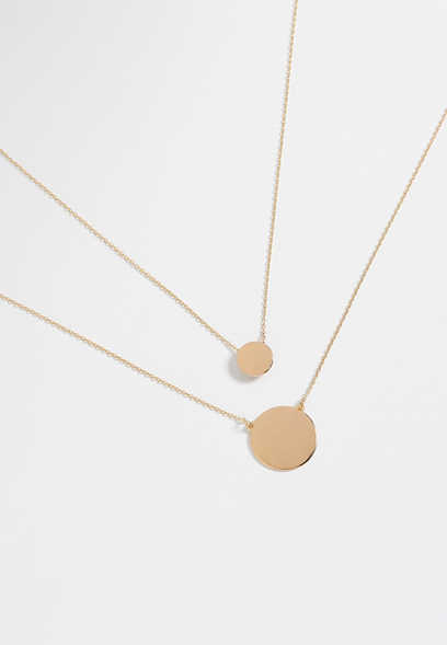 double disc goldtone necklace