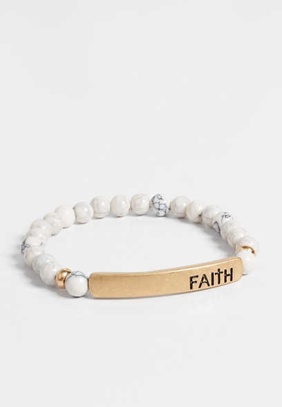 faith beaded stretch bracelet