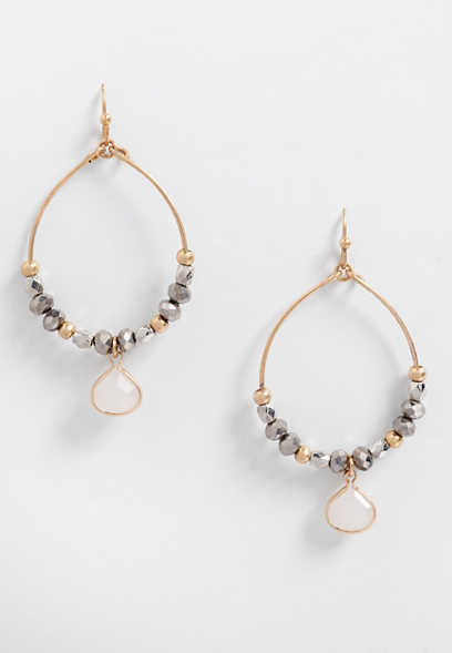 beaded stone hoop earring