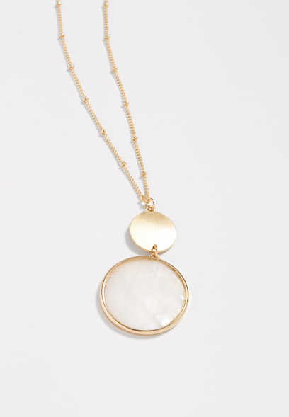 double drop ivory stone necklace