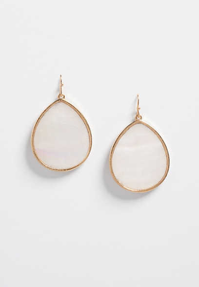 ivory circle drop earrings