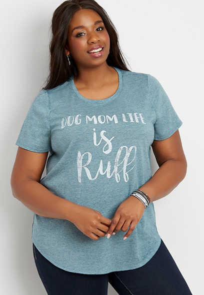 plus size dog mom life is ruff graphic tee