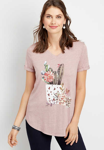succulent v-neck graphic tee
