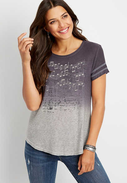 music note ombre graphic tee