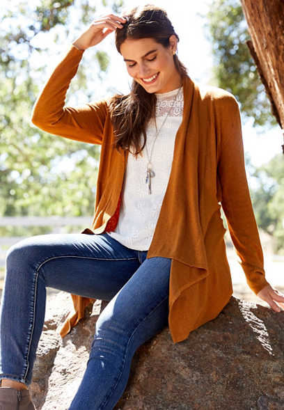 solid long sleeve waterfall cardigan