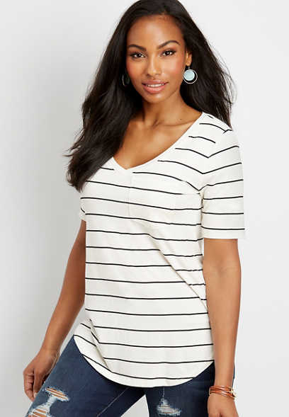 24/7 v-neck striped tunic tee