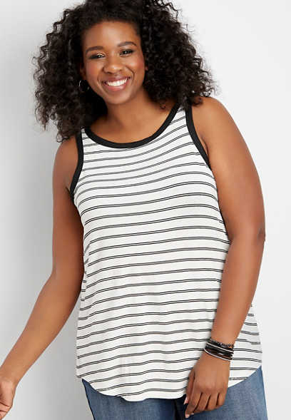 plus size 24/7 stripe high neck tank